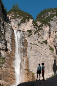 Waterfall and hiking in the Dolomites