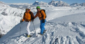 Off-piste skiing in the Dolomites