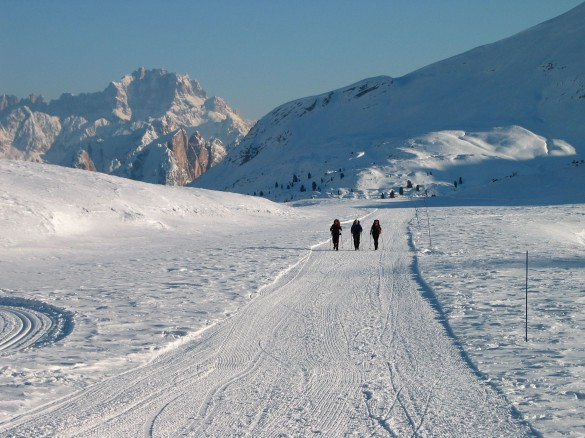 Snowshoeing the Alta Via N.1 of the Dolomites