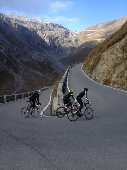 Cyclist - Big Ride: Cyclist rides the Stelvio